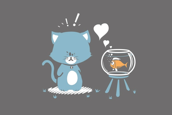 Illustration enfant poisson chat