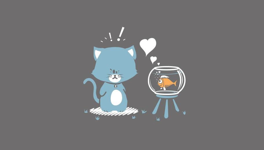 Illustration enfant poisson chat